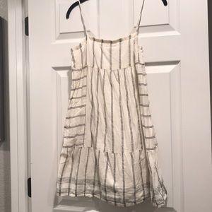 J. Crew short cream dress with denim blue stripes